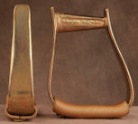 Straight Time Stirrups Barrel Stirrup Satin Copper Plated with Leather Tread
