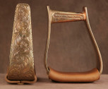 Straight Time Stirrups Jr. Roper In Stock Hand Engraved Copper with Leather Tread