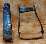 Straight Time Stirrups Cow Horse In Stock Hand Engraved Copper with Leather Tread
