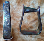 Straight Time Stirrups Barrel In Stock Hand Engraved Copper with Leather Tread