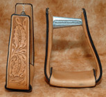 Straight Time Stirrups Cow Horse Leather Sewn Hand Tooled Stirrup Light Oil