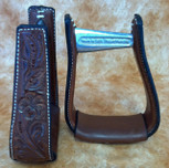 Straight Time Stirrups Cow Horse Leather Sewn Hand Tooled Stirrup Dark Oil