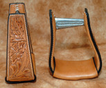 Straight Time Stirrups Jr. Roper Leather Sewn Hand Tooled Stirrup Dark Oil
