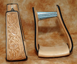 Straight Time Stirrups Jr. Roper Leather Sewn Hand Tooled Stirrup Light Oil