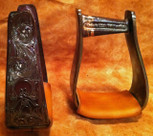 Straight Time Stirrups Little Britches Custom Hand Engraved Antiqued Copper with Leather Tread