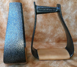 Straight Time Stirrups Packer/Over-Size Stirrup Powder Coated with Leather Tread