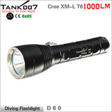 TANK007 D60 Cree XM-L U2 Rechargeable Diving flashlight 1000LM 4-mode sealed totally completely waterproof diving death can be up to 200 meters