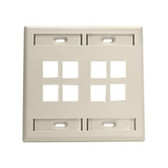 Leviton wallplate 8 port dual gang, 42080-8