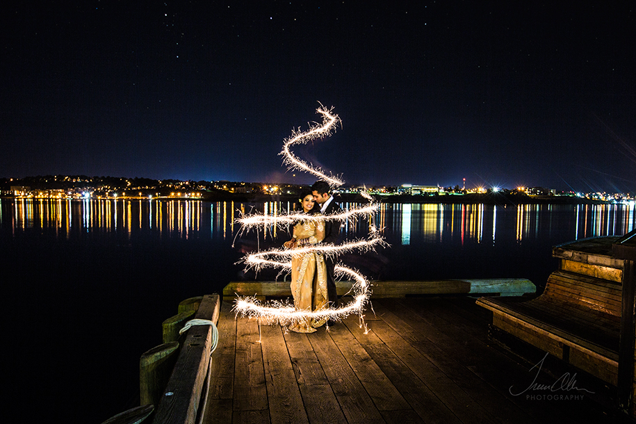artistic wedding sparkler photo
