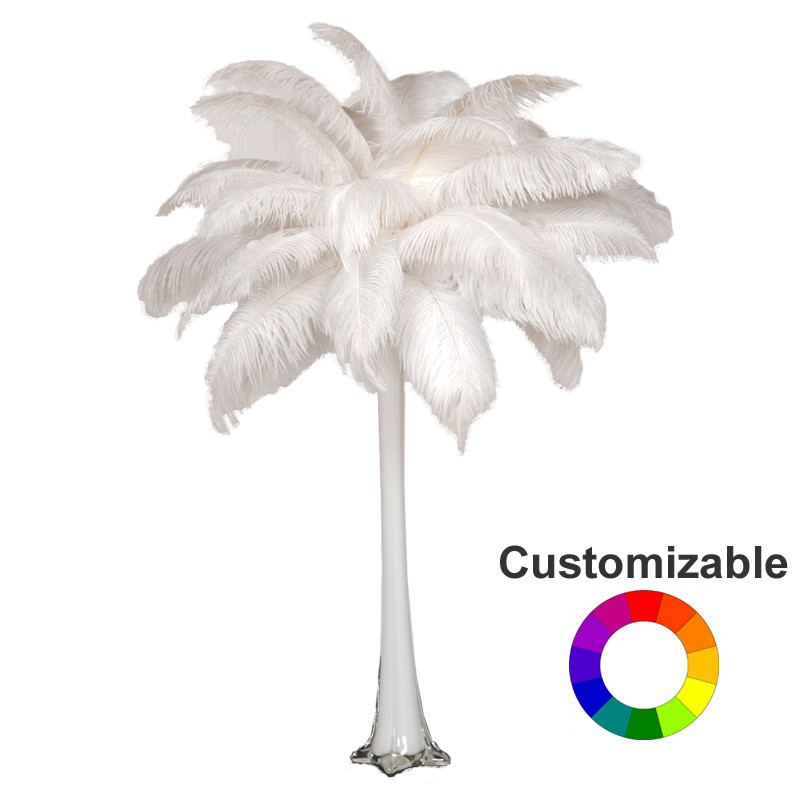 Ostrich feather centerpiece with quot eiffel tower vase