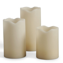 Large Flameless Melted Edge Candles in Bisque