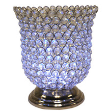 "9"" Crystal Candle Holder in Nickel"
