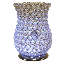 "8.5"" Crystal Candle Holder in Nickel"