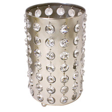 "9.5"" Nickel Cylinder Candle Holder with Crystals"