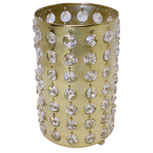 "7.5"" Bronzed Gold Cylinder Candle Holder with Crystals"