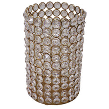 """7.5"""" Crystal Cylinder in Gold"""