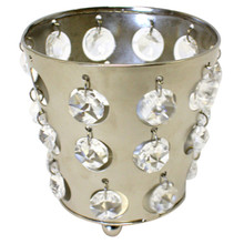 Nickel Tealight Holders with Crystals - Case of 6
