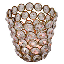 Crystal Tealight Holders in Gold - Case of 6
