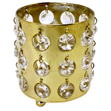 Bronzed Gold Votive Holders with Crystals - Case of 6