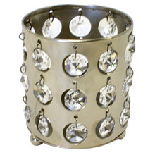Nickel Votive Holders with Crystals - Case of 6