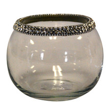 "4"" Round Votive Holders with Jewel Crystals - Case of 4"