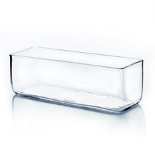 "12"" x 4"" x 4"" Block Rectangle Glass Vase - Case of 8 ($24.00/pc)"
