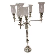 37 Inch 5-Light Candelabra with Bowl and Hurricanes