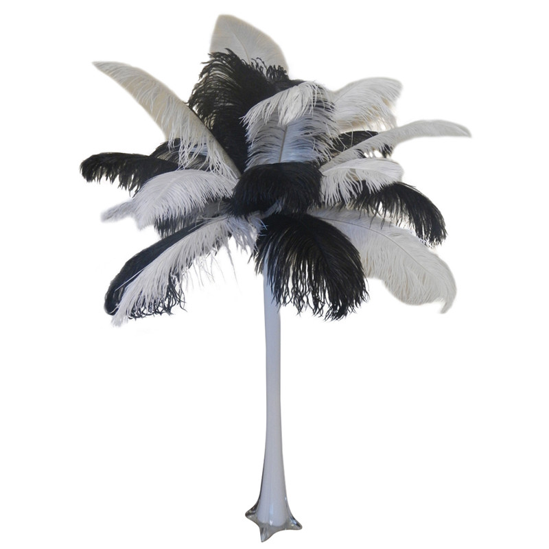 Quot Black And White Quot Ostrich Feather Centerpiece Events