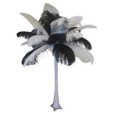 """Black and White"" Ostrich Feather Centerpiece"