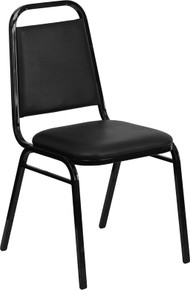 Black Vinyl Stacking Banquet Chair with Trapezoidal Back with Black Frame