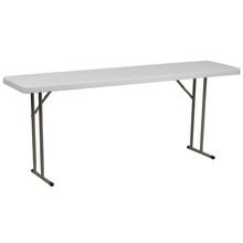 "18""W x 72""L Granite White Plastic Folding Training Table"