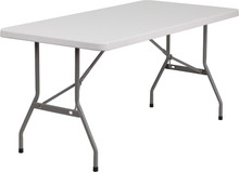 "30""W x 60""L Granite White Blow Molded Plastic Folding Table"