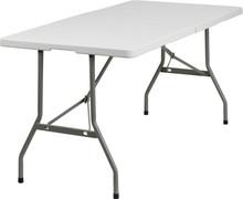 "30""W x 60""L Granite White Plastic Bi-Folding Table"