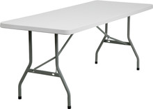 "30""W x 72""L Granite White Plastic Folding Table"
