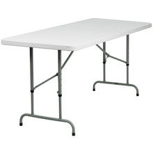 "30""W x 72""L Height Adjustable Granite White Plastic Folding Table"