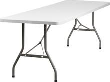 30''W x 96''L Granite White Plastic Folding Table