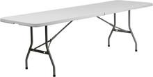 "30""W x 96""L Granite White Plastic Bi-Folding Table"