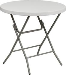 "32"" Round Granite White Plastic Folding Table"