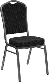 Black Speckled Fabric Crown Back Stacking Banquet Chair with Silver Vein Frame