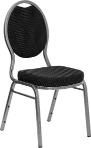 Black Patterned Teardrop Back Stacking Banquet Chair with Silver Vein Frame