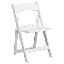 White Resin Folding Chair with Slatted Seat - 1000 lb. Capacity