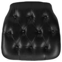 Hard Black Tufted Vinyl Chiavari Chair Cushion for Crystal / Resin Chiavari Chairs