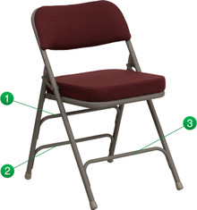 Premium Curved Triple Braced and Quad Hinged Burgundy Fabric Upholstered Metal Folding Chair