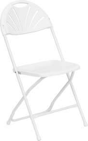 White Plastic Fan Back Folding Chair - 800 lb. Capacity