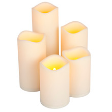Set of 5 Bisque Resin Weather Resistant LED Pillars