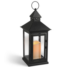 "Large Metal Square Peaked Roof Indoor/Outdoor Lantern with Timer, 15""H - 4 Lanterns"