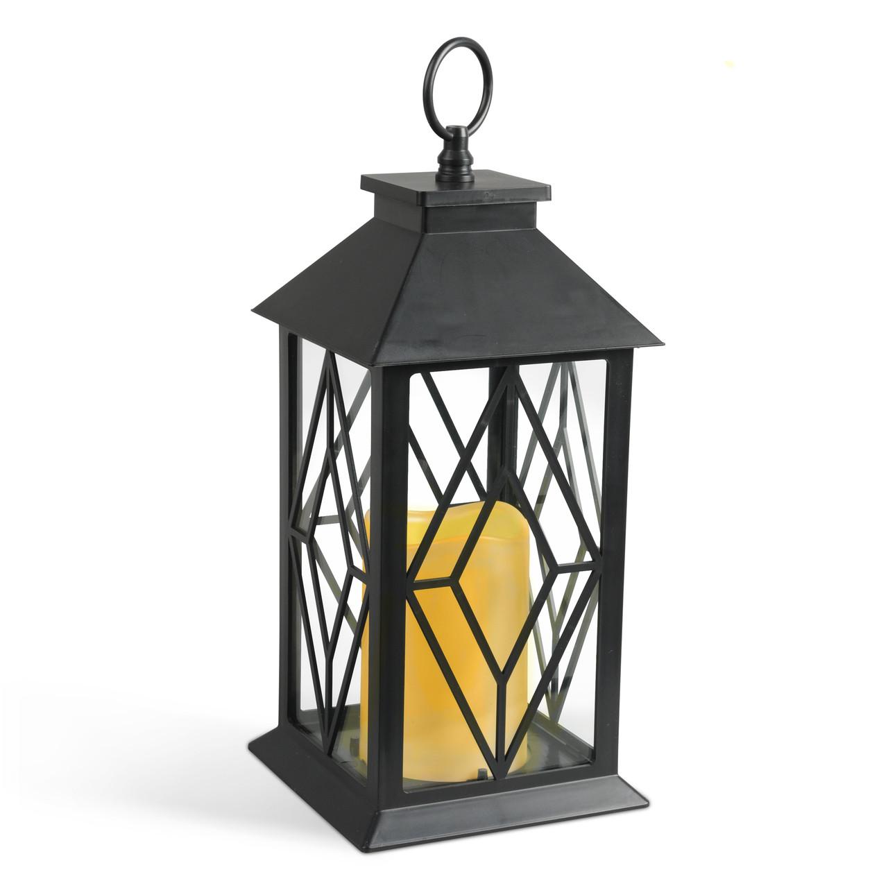 Black Plastic Diamond Indoor Outdoor Lantern With Glass