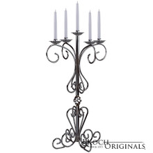 36'' Tall Old World Tabletop Candelabra - Traditional Style in Frosted Silver