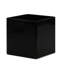 "6"" Black Cube Vase - Case of 12"