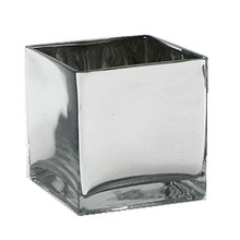 "6"" Silver Cube Vase - Case of 12"